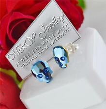 925 SILVER STUD EARRINGS CRYSTALS FROM SWAROVSKI® 10mm SKULL - Metallic Blue