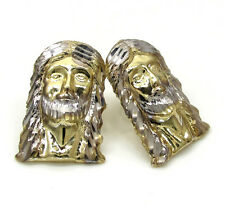 3.30Gr Mens Ladies 10k Real Yellow Gold Long Jesus Face Earrings clip on Studs
