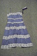 new womens hale bob blue lace layered sun dress size medium