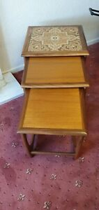 G-Plan Astro Nest Of 3 Tables Teak Mid-Century with ornate tiled top - retro!