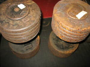 YORK BARBELL CO.PRO-STYLE DUMBBELLS,CIRCA 1970, 2XAPPROX. 107.5-110.0LBS=APPROX.