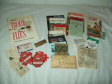 Lot of misc vinrtage fishing reel papers + law booklets Nolls.fly tieing etc