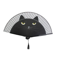Summer Cute Cat Folding Fans Silk Bamboo Hand Handheld Fan Painted Cartoon