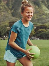 Nwt Athleta Girl Comeback Short Sleeve Tee Dark Surf Teal Mesh L 12