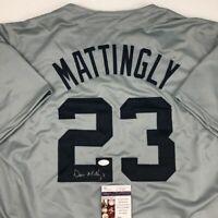 Autographed/Signed DON MATTINGLY New York Yankees Grey Jersey JSA COA Auto