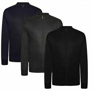 Mens King Size Big and Tall Jumper Long Sleeve Zip Up Cardigan Sweater Top