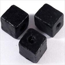 20 Perles Cubes en Bois 12mm Noir