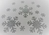 13 X FLOCON NEIGE ARGENT thermocollant hotfix Glitter DIY 3x6 CM + 10x1,6CM