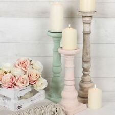 Set Of 3 Vintage Rustic Wooden Candle Holders Shabby Chic Candlesticks