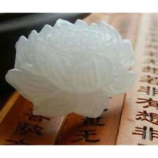 Natural White Jade Lotus Pendant Necklace Fashion Lucky Charm New  Modern