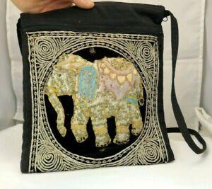 Shoulder Bag Handcrafted Myanmar Sequin Embroidered Tapestry Elephant Antique