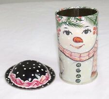 Snowman Snow Woman Christmas Round Tin Container removable hat lid Shackman