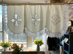 Gorgerous Wide Floral Embroidery Sheer Lace Inserted Ivory Jacquard Curtain Swag