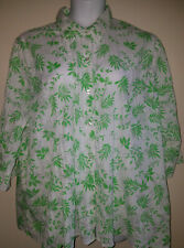 Denim & Co Size 2X Lime Green & White Blouse Floral Print Button Down Crinkled