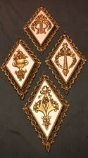 Vintage Set Of 4 Homco Diamond Gold Wall Hanging Plaques Harp Topiary Flower