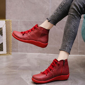 Women Ankle Boots Casual Lace Up Flat Low Heel Side Zip Round Toe Winter Shoes