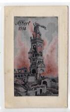 """""""ALBERT 1914"""" woven silk """"flames"""" postcard (C31806)"""