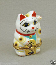 NEW FRENCH LIMOGES TRINKET BOX JAPANESE LUCKY HAPPY CAT GOOD FORTUNE SYMBOL