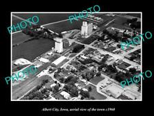 OLD LARGE HISTORIC PHOTO ALBERT CITY IOWA, AERIAL VIEW OF THE TOWN c1960