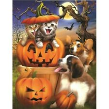 Diamond Painting 5D Full Drill Wall Decor Cat And Dog Kits for Halloween Gifts