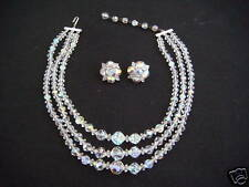 EUC Lot 3-Strand Choker Necklace Crystal Clip Earrings