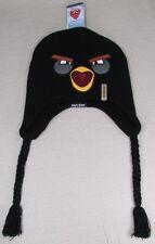 ANGRY BIRDS REVERSIBLE BOMB BIRD Unisex Beanie Laplander Hat Black NEW NWT