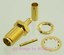 SMA Female Bulkhead Crimp Connector RG174 LMR100 Gold - by W5SWL ®