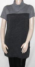NEW Elementz Size Large GREY Short Sleeve Colorblock Turtleneck Sweater Dress