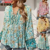 Women's Floral V Neck Blouse Loose T Shirt Casual Long Sleeve Tunic Baggy Tops