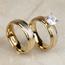 Round Cut Diamond 14K Yellow Gold Over Engagement Ring Wedding Band Bridal
