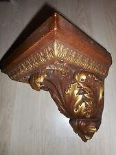 ANCIEN SOCLE  MURAL D'ANGLE/STYLE BAROQUE/PLATRE PEINT BRUN DORURE/H.27c/CONSOLE