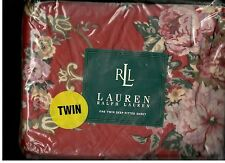 Ralph Lauren Marseille Marseilles Floral Red Twin Fitted Sheet New 1st Quality