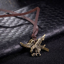 Mens Womens Metal Eagle Pendant Adjustable Brown Leather Rope Necklace #N157