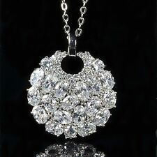 Beautiful Necklace 18K Gold GP Clear White Swarovski Crystal Chain Pendant NEW!