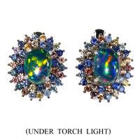 Unheated Oval Black Opal 8x6mm Sapphire Diamond Cut 925 Sterling Silver Earrings