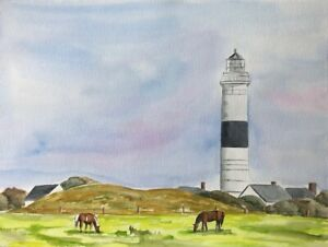 Leuchtturm auf Sylt  32 x 24 cm Original Aquarell, Leuchtturm Kampen, Pferde,