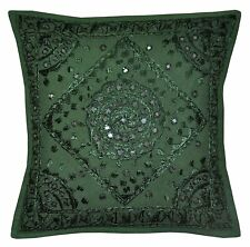 Indian Cotton Mirror Embroidered Cushion Cover, Indian Hippie Throw Pillow cover