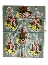 "Vintage Fabric Waverly Bonded  CHINTZ Mayflowers Print 2+1/4 yds 36"" grey floral"