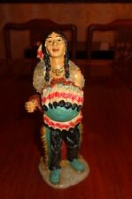 Unknown Maker Native American Indian Figurine Ornament Resin WITH SHIELD