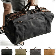 Vintage Water Resistant Wax Canvas Duffel Travel Overnight Weekend Gym Carry Bag