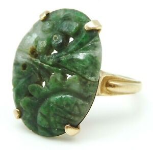 BEAUTIFUL Solid 14k Yellow Gold / Chinese Carved Jade Ladies Ring Size 5.75
