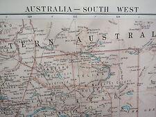 1919 LARGE MAP ~ AUSTRALIA SOUTH WEST MEAN ANNUAL RAINFALL TEMPERATURE TASMANIA