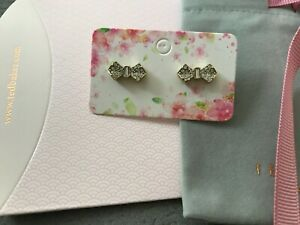 Ted Baker Pave Crystal Bow Stud Earrings Gold Tone