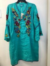 NWT Johnny Was Plus XL Nandi Flare-Sleeve Floral-Embroidered Linen Tunic Dress