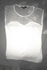Top T-shirt Morgan Femme sans manches 34 XS tulle Blanc forme faux bustier Neuf