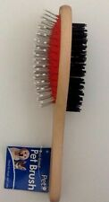 Dual-Sided Massage Brush Grooming You Dog/Cat Hair Wood Handle Comb. USA SELLER