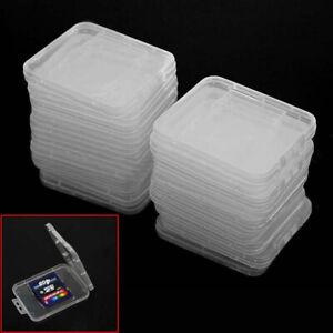 20 pcs Transparent Plastic Standard SD SDHC Memory Card Case Holder Boxes  ghj
