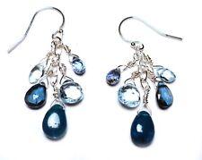 "BLUE SKIES Apatite London & Sky Topaz Aquamarine Kyanite SS1-5/8"" Earrings E413b"