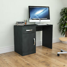 Hudson Computer Desk 1 Drawer 1 Door Laptop PC Table Home Office Study Black