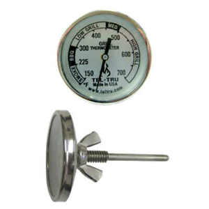 """Tel-Tru BQ225 BBQ Smoker Thermometer 2"""" Dial w/ 2.13"""" Stem Grill 700 zones USA"""